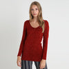 Stylish Stars 1/2 Zipper Top For Ladies-Dark Red-BE8766