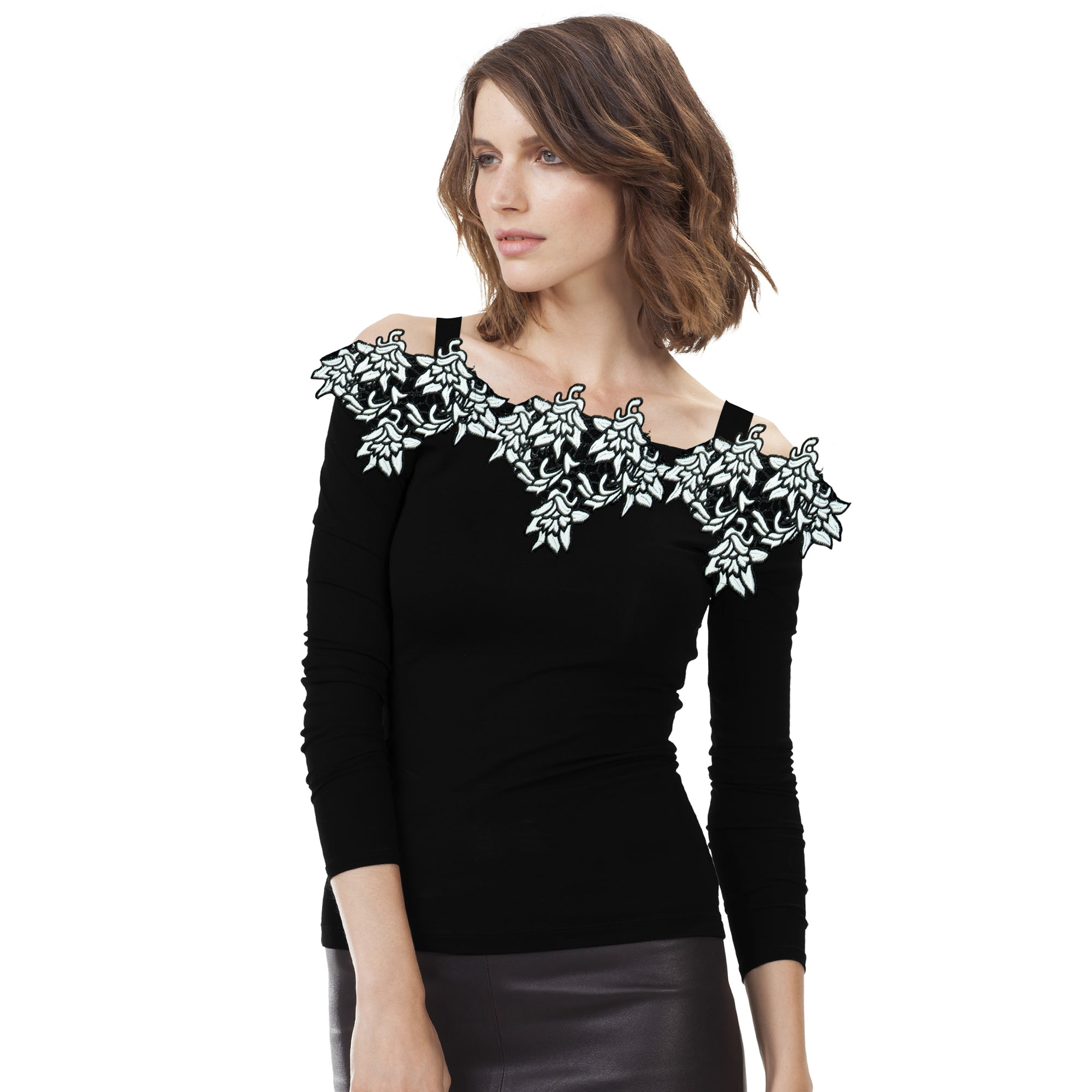 Stylish Viscose Embroidered Shoulder less Top For Ladies-Black-BE8736