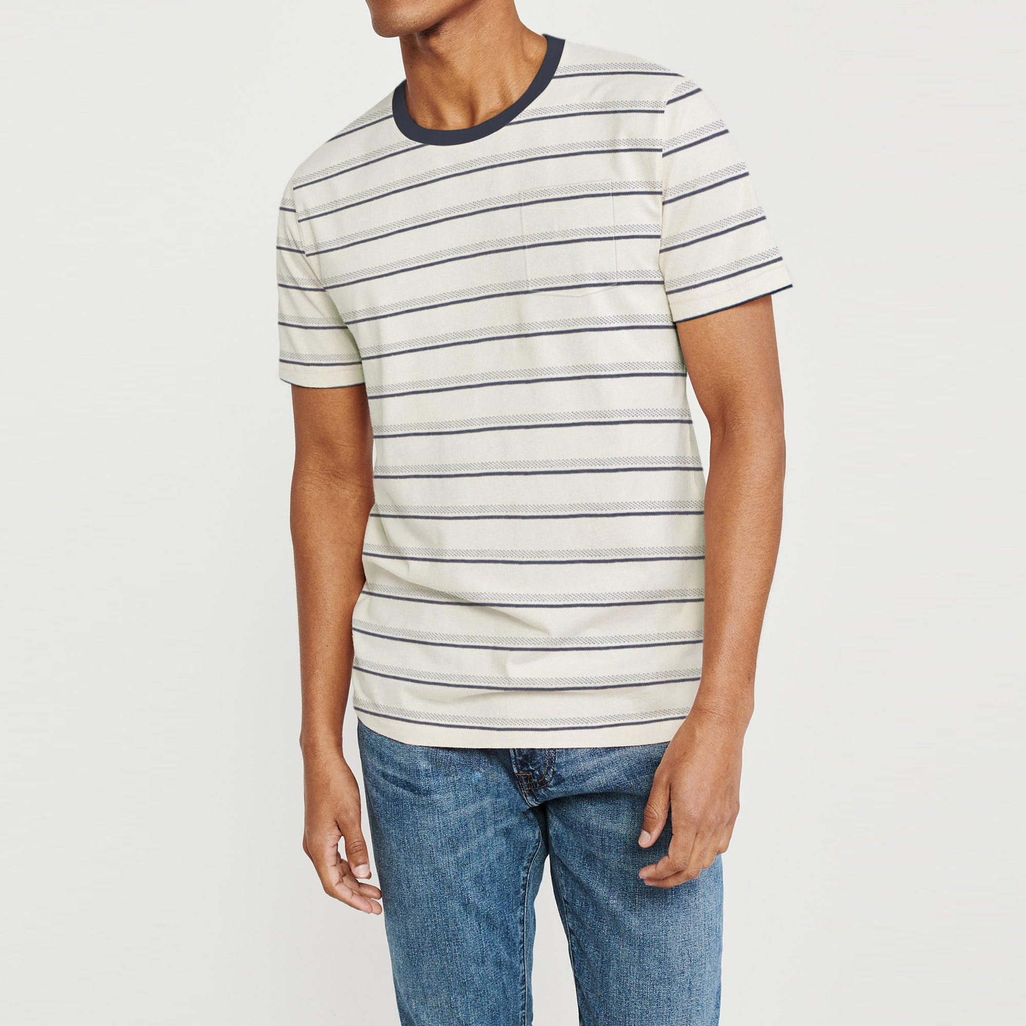 Superior Crew Neck Half Sleeve Tee Shirt For Men-Off White with Stripe-BE8111