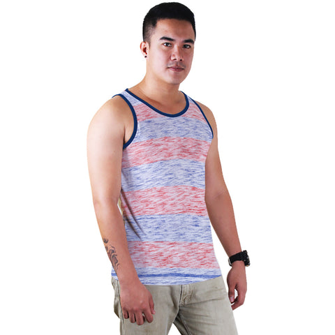 Fassion Boy Sleeve Less T Shirt-Blue Melange & Orange Melange-BE827