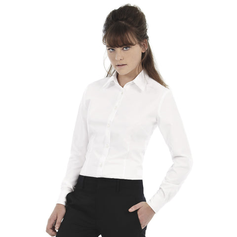 Uneek Full Sleeve Casual Shirt For Women-White-BE957