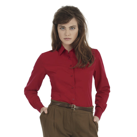 Uneek Full Sleeve Casual Shirt For Women-Dark Burgundy-BE954