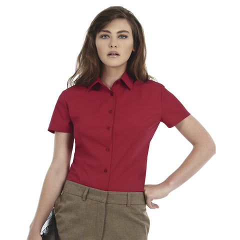 Uneek Half Sleeve Casual Shirt For Women-Dark Burgundy-BE955
