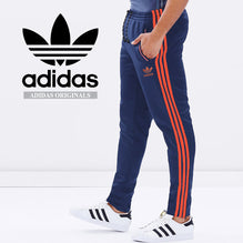 Adidas Cotton Trouser For Men-Light Navy With Corel Orange Stripes-BE2338