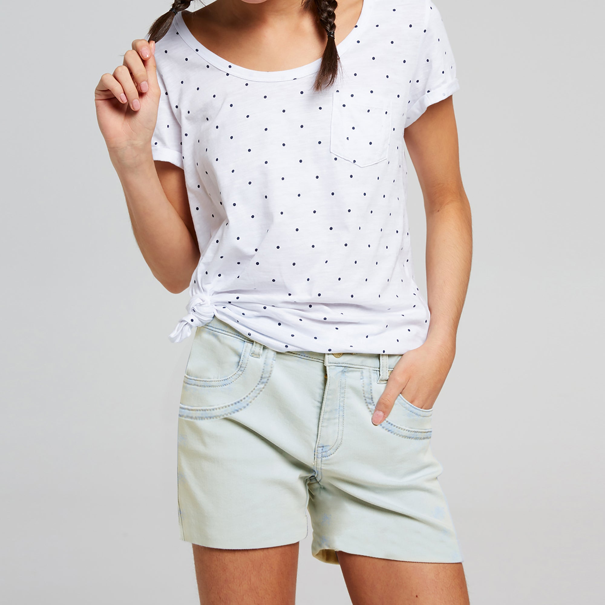 brandsego - Tammy Girl Denim Short For Girls-Off White Faded-BE7079