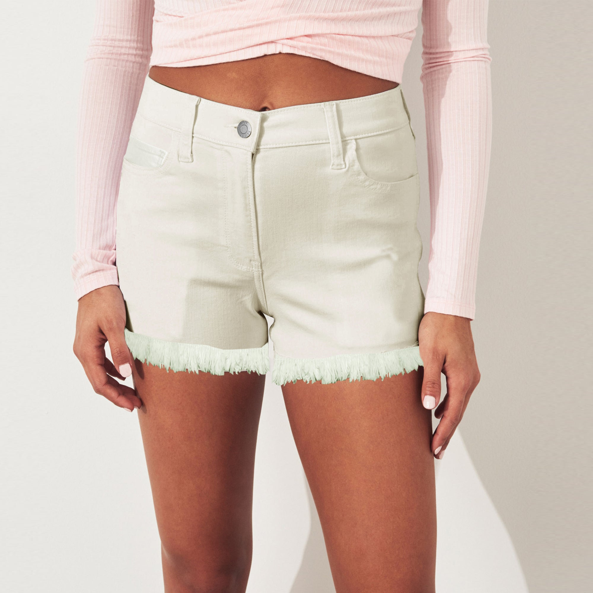 Tammy Girl Denim Short For Girls-Off White-SP053
