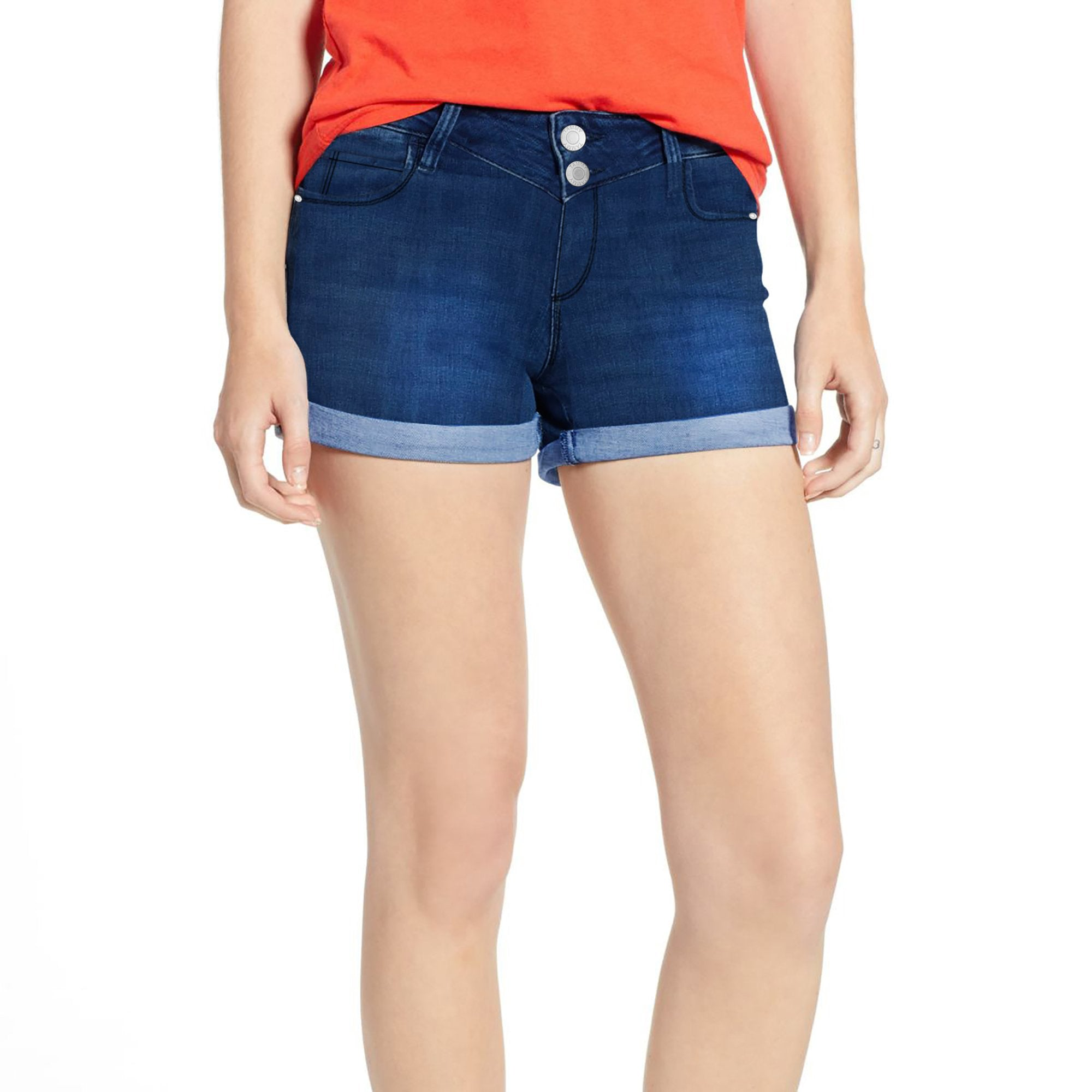 Tammy Girl Denim Short For Ladies-Dark Blue With Faded-SP110