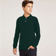 Full Sleeve Polo Shirt For Boys-Green-BE2254