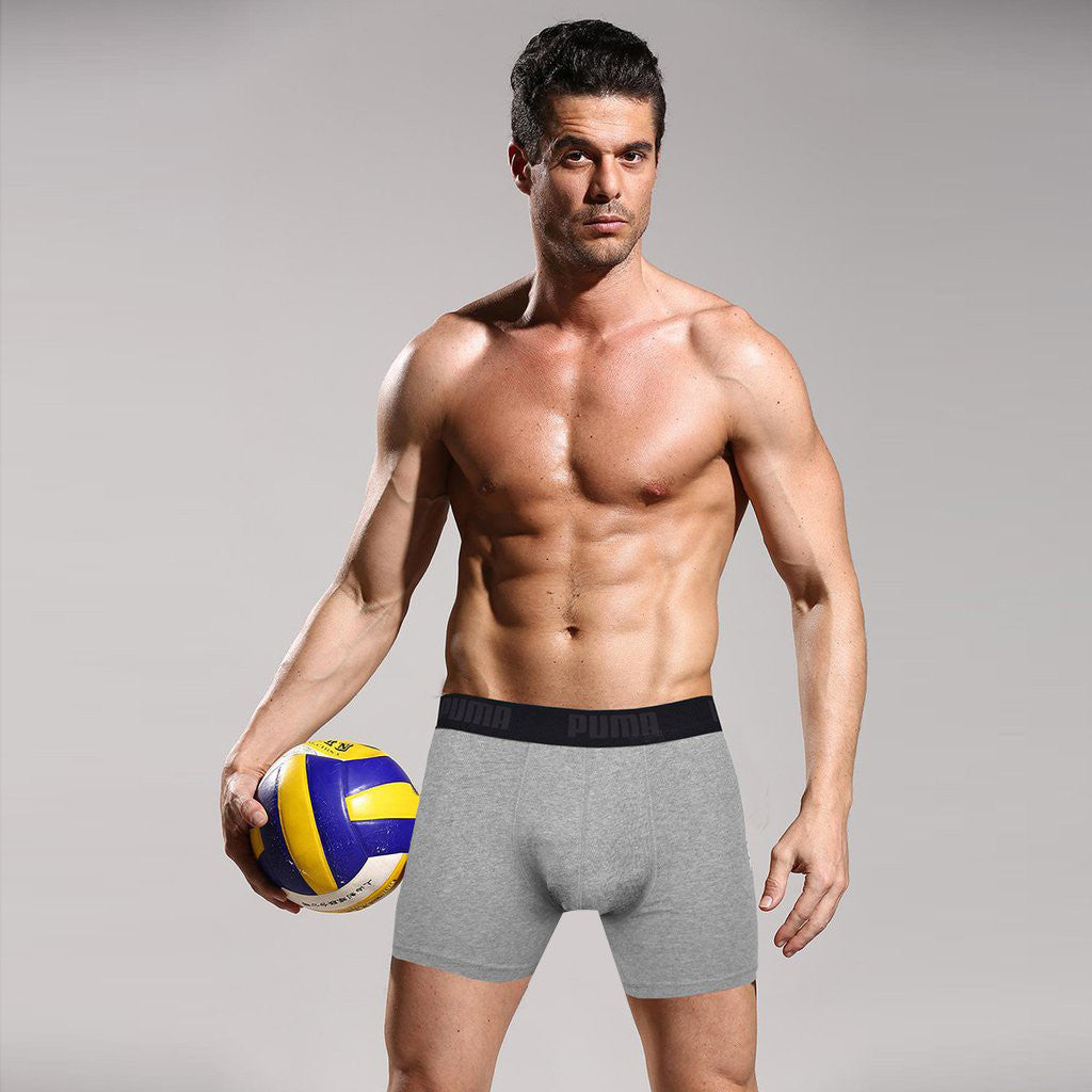 "Men's ""PUMA"" Boxer Short-Gray-BE192"