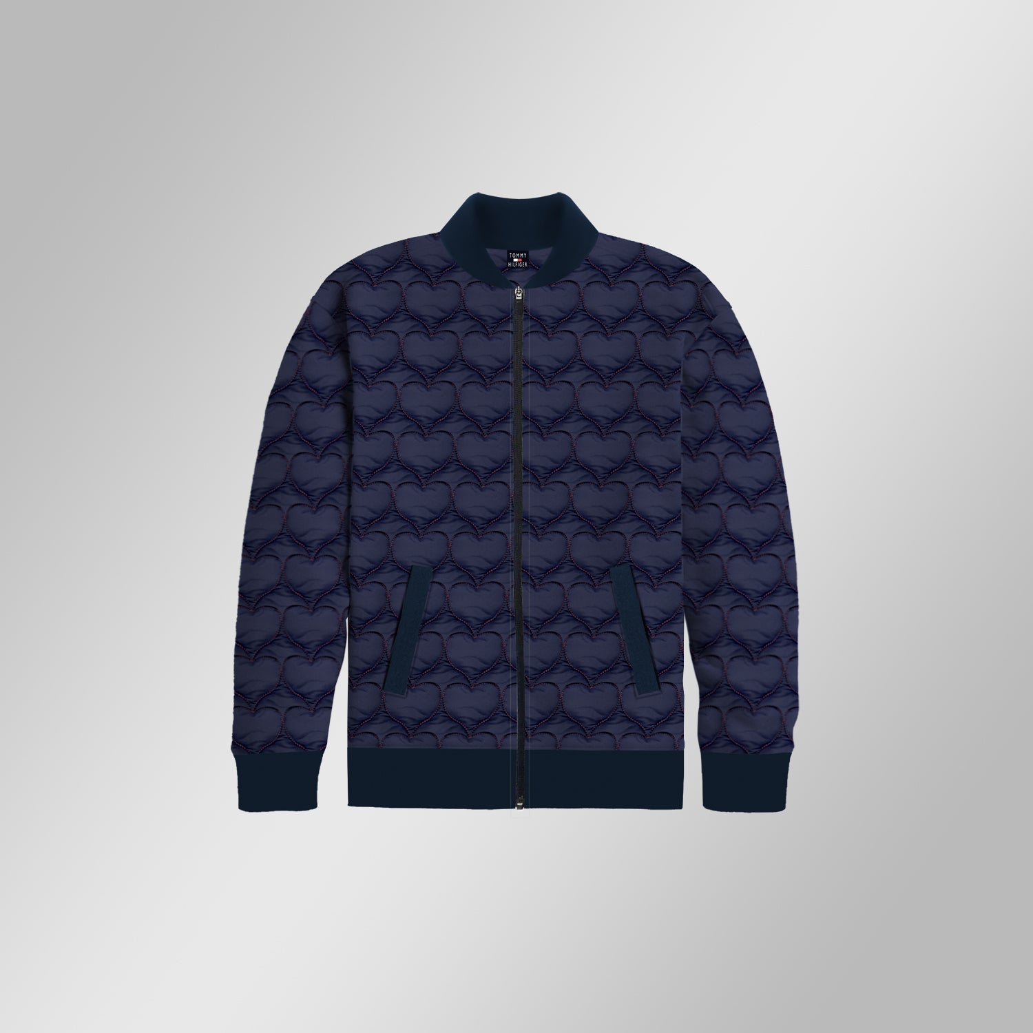 TH Quilted Zipper Baseball Jacket For Kids-Navy Heart Quilted-BE13397