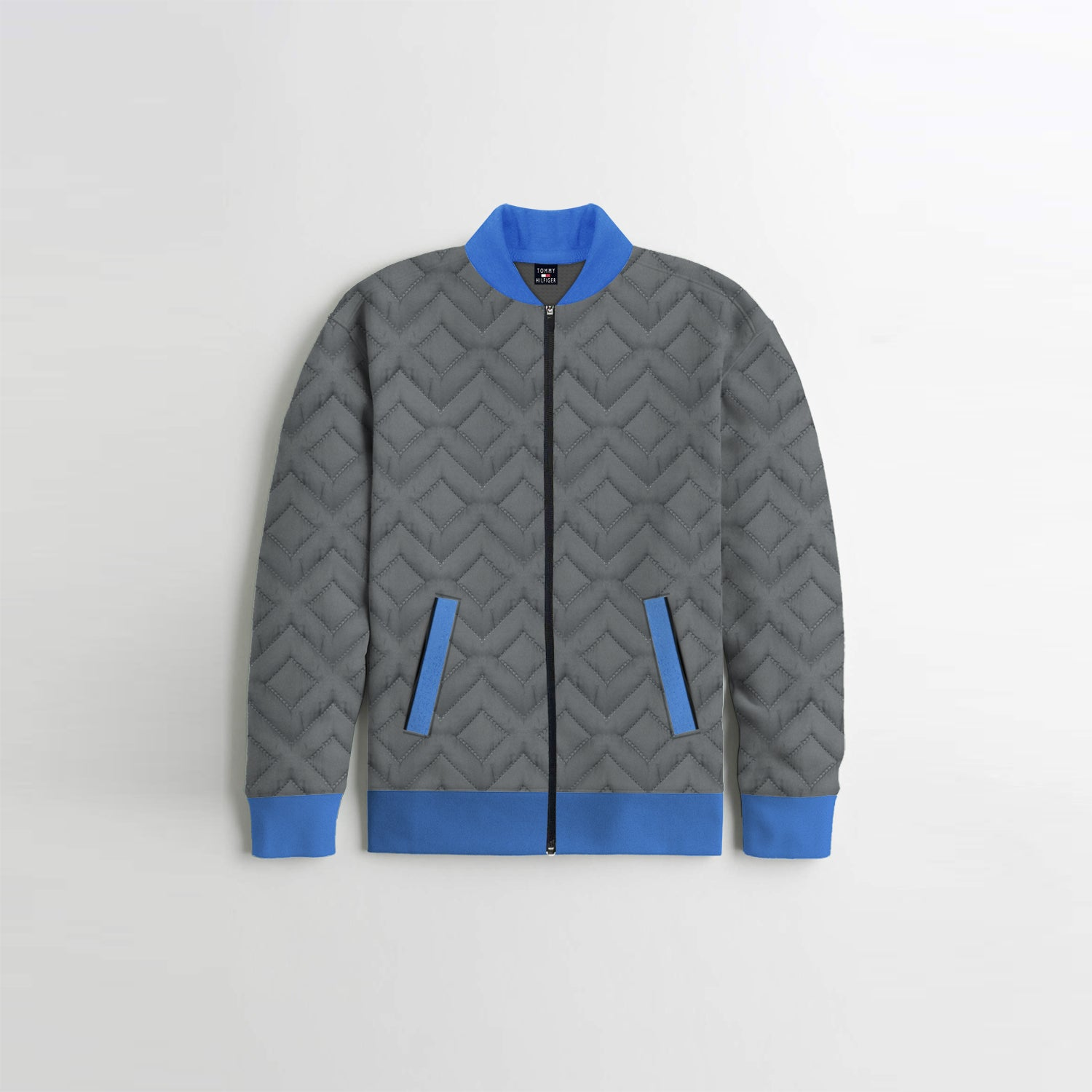 TH Quilted Zipper Baseball Jacket For Kids-Slate Grey with Blue-BE13405