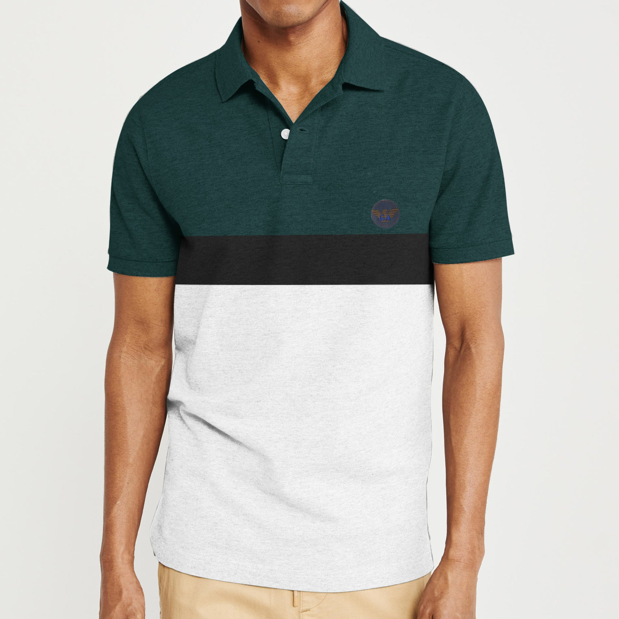 The Modern Short Sleeve P.Q Polo Shirt For Men-Dark Green with Stripe-BE8419