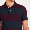 The Modern Short Sleeve P.Q Polo Shirt For Men-Dark Navy & Dark Maroon Stripe-BE8399