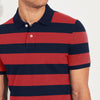 The Modern Short Sleeve P.Q Polo Shirt For Men-Dark Navy & Orange Stripe-BE8398