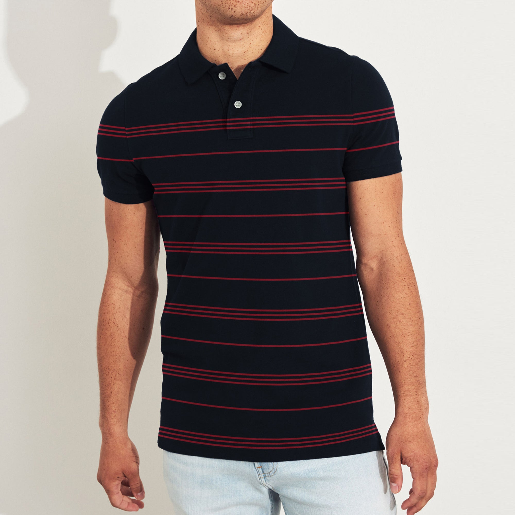 The Modern Short Sleeve P.Q Polo Shirt For Men-Dark Navy & Red Stripe-BE8396