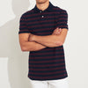 The Modern Short Sleeve P.Q Polo Shirt For Men-Dark Navy & Red Stripe-BE8401