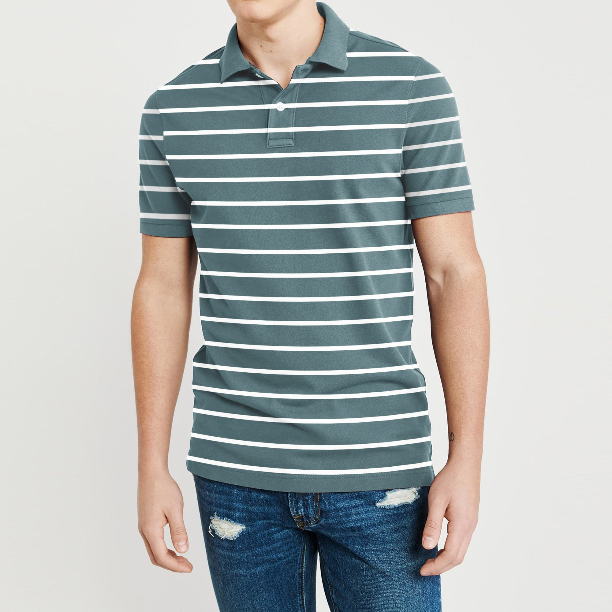 The Modern Short Sleeve P.Q Polo Shirt For Men-Dark Slate Grey & White Stripe-BE8618