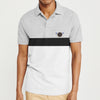 The Modern Short Sleeve P.Q Polo Shirt For Men-Grey with White Stripe-BE8402