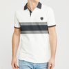 The Modern Short Sleeve P.Q Polo Shirt For Men-Grey with White Stripe-BE8403