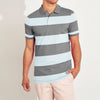 brandsego - The Modern Short Sleeve P.Q Polo Shirt For Men-Light Sky & Grey Stripe-BE8351