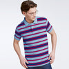 brandsego - The Modern Short Sleeve P.Q Polo Shirt For Men-Light Sky & Stripe-BE8352