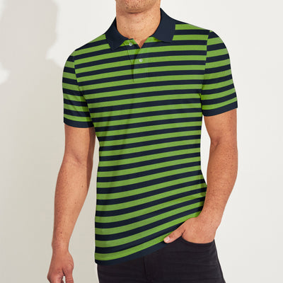 The Modern Short Sleeve P.Q Polo Shirt For Men-Navy & Green Stripe-BE8371