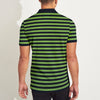 brandsego - The Modern Short Sleeve P.Q Polo Shirt For Men-Navy & Green Stripe-BE8371