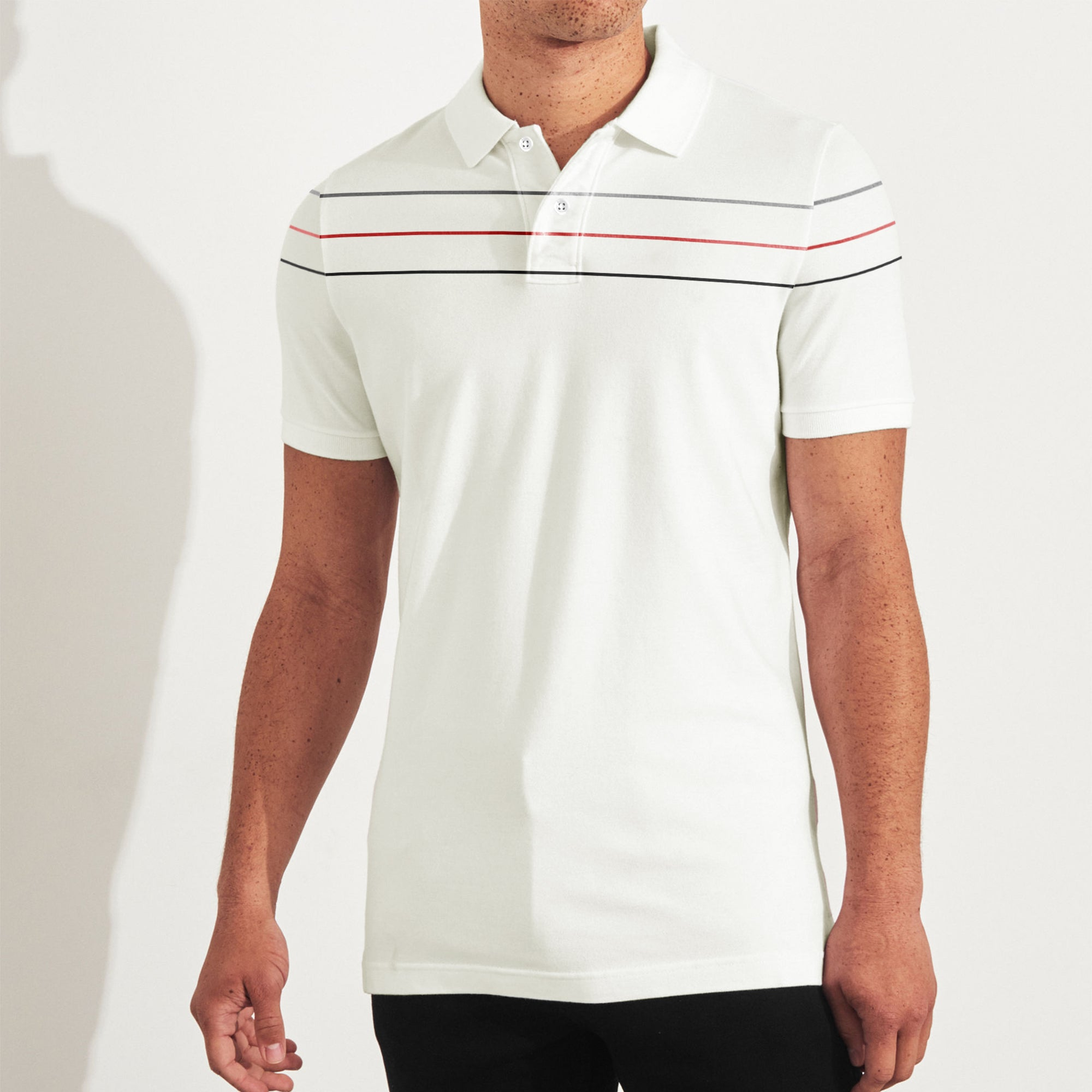 The Modern Short Sleeve P.Q Polo Shirt For Men-Off White & Stripe-BE8389