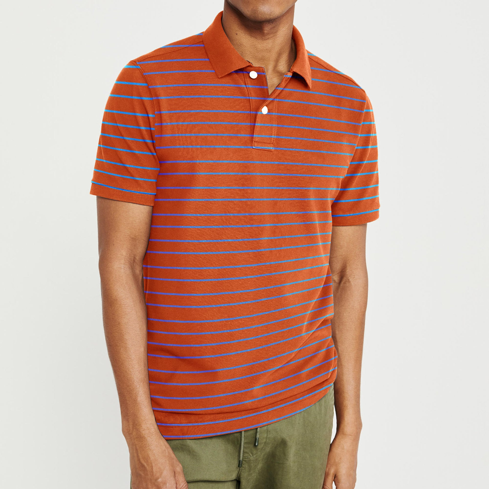 The Modern Short Sleeve P.Q Polo Shirt For Men-Orange & Sky Stripe-BE8400