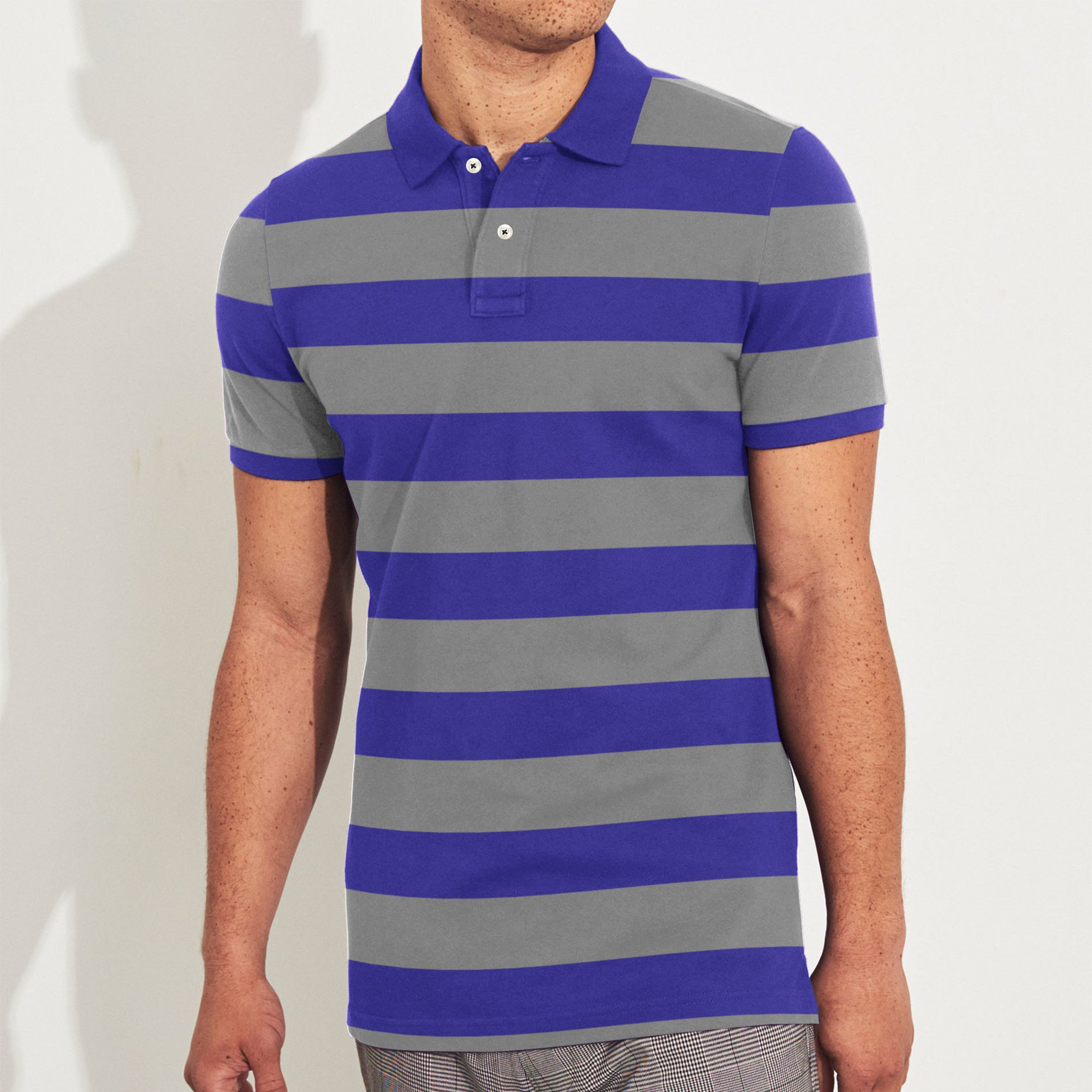 The Modern Short Sleeve P.Q Polo Shirt For Men-Purple & Grey Stripe-BE8609