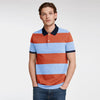 The Modern Short Sleeve P.Q Polo Shirt For Men-Sky & Orange Stripe-BE8395