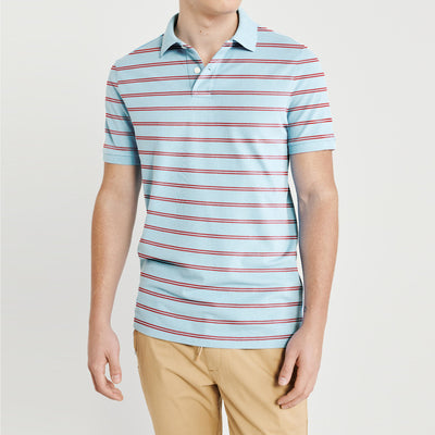 brandsego - The Modern Short Sleeve P.Q Polo Shirt For Men-Sky with Stripe-BE8315