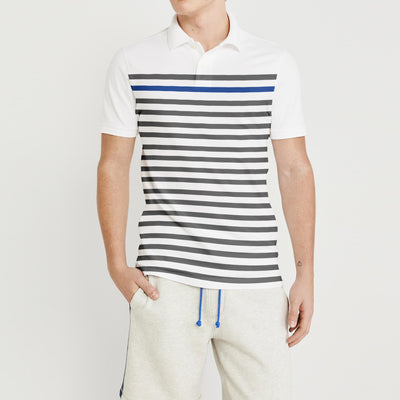 brandsego - The Modern Short Sleeve P.Q Polo Shirt For Men-White with Stripe-BE8296