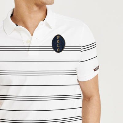 brandsego - The Modern Short Sleeve P.Q Polo Shirt For Men-White with Stripe-BE8322