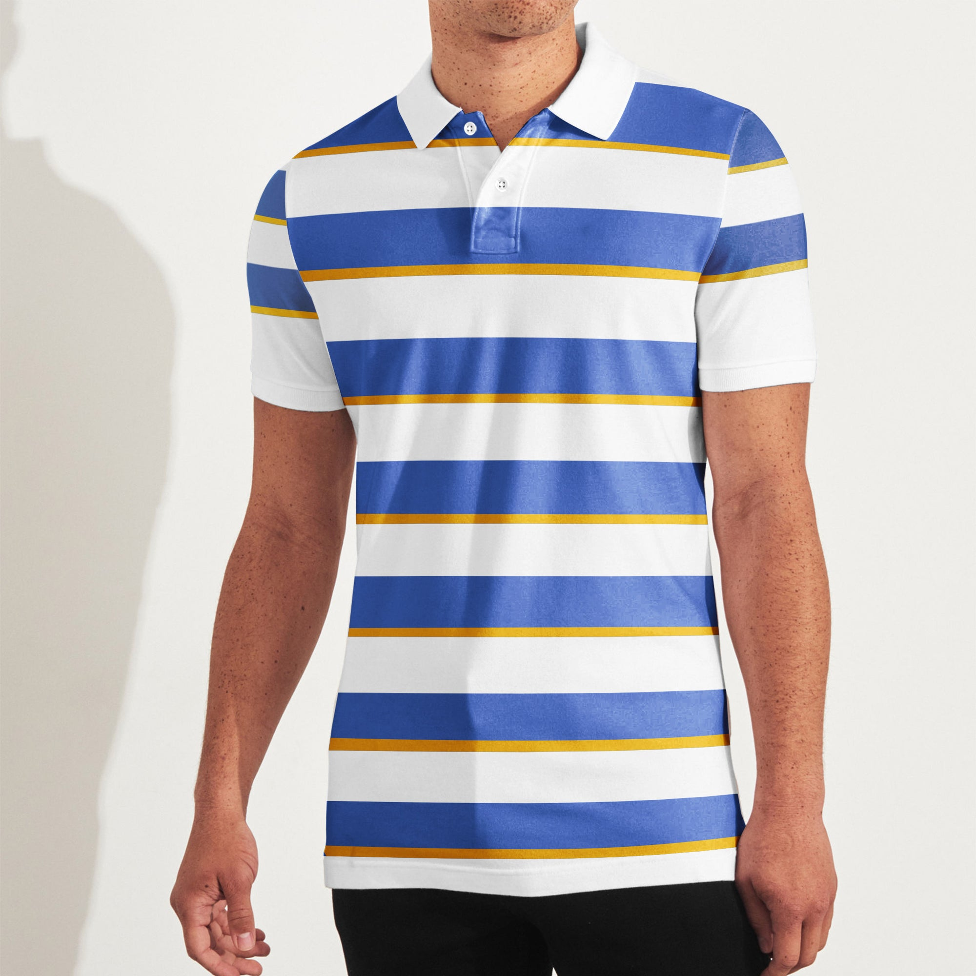 brandsego - The Modern Short Sleeve P.Q Polo Shirt For Men-White with Stripe-BE8430
