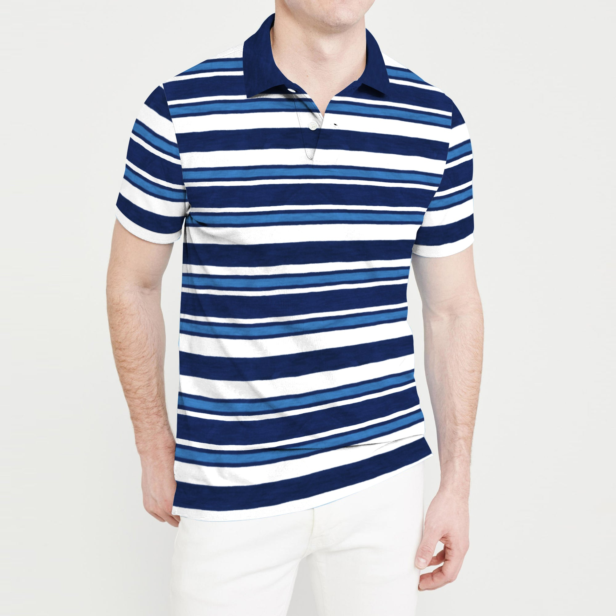 The Modern Short Sleeve Single Jersey Polo Shirt For Men-Navy Stripe-BE8314