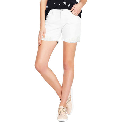 Tintoretto Denim Lace Short For Ladies-White-BE713