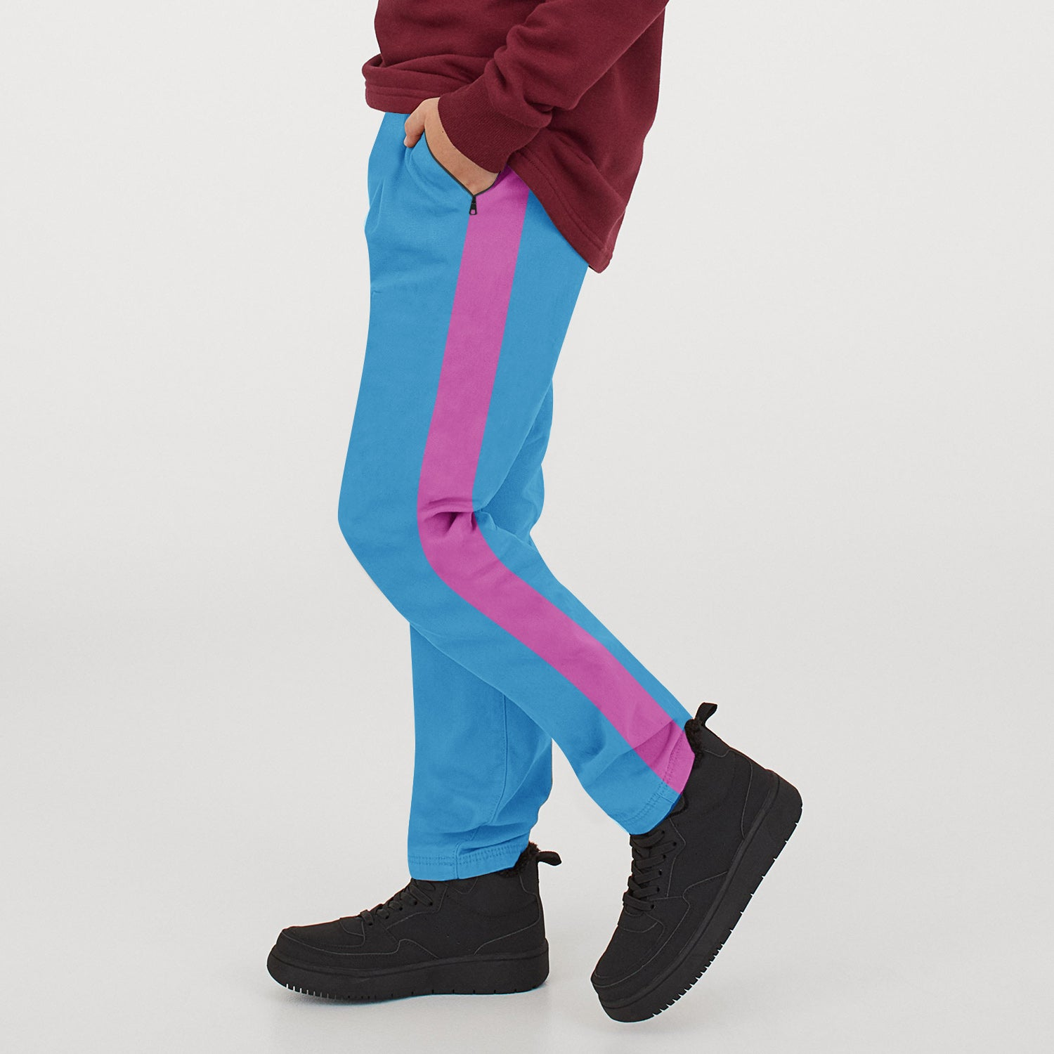 Tommy Hilfiger Both Season Trouser For Kids-Cyan with Magenta Stripe-BE12764