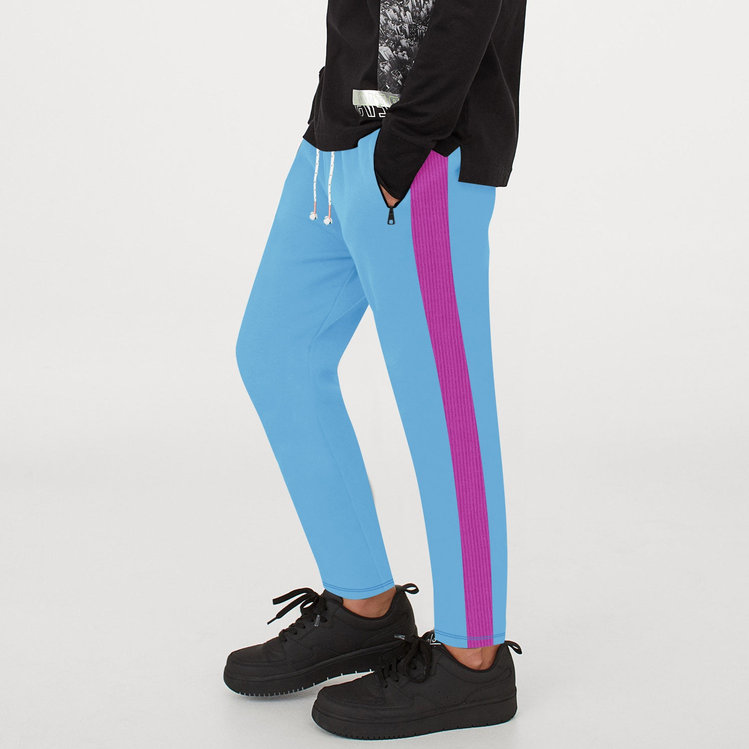 Tommy Hilfiger Both Season Trouser For Kids-Cyan with Magenta Stripe-BE12775