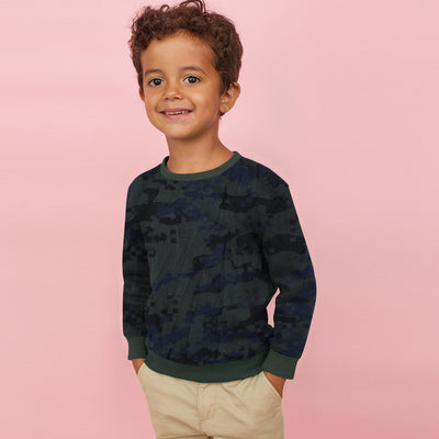 brandsego - Tommy Hilfiger Crew Neck Fleece Sweatshirt For Kids-Camouflage with Olive-BE7225