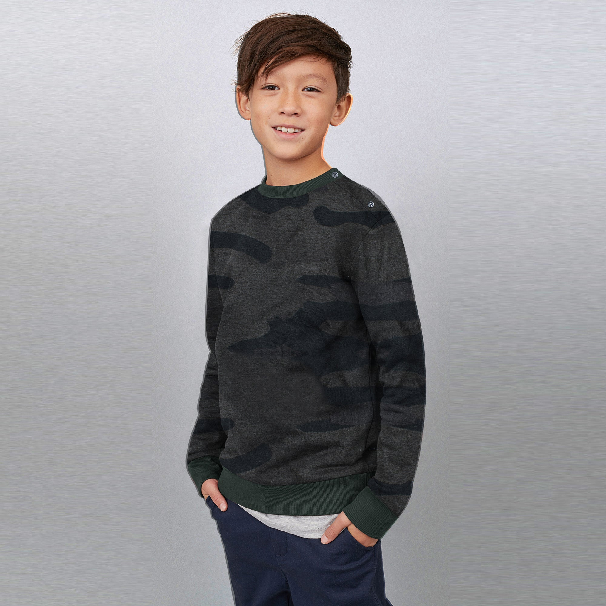 9ca3fae4 Tommy Hilfiger Crew Neck Fleece Sweatshirt For Kids-Charcoal with Camouflage -BE7221