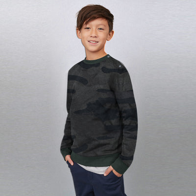 Tommy Hilfiger Crew Neck Fleece Sweatshirt For Kids-Charcoal with Camouflage-BE7221