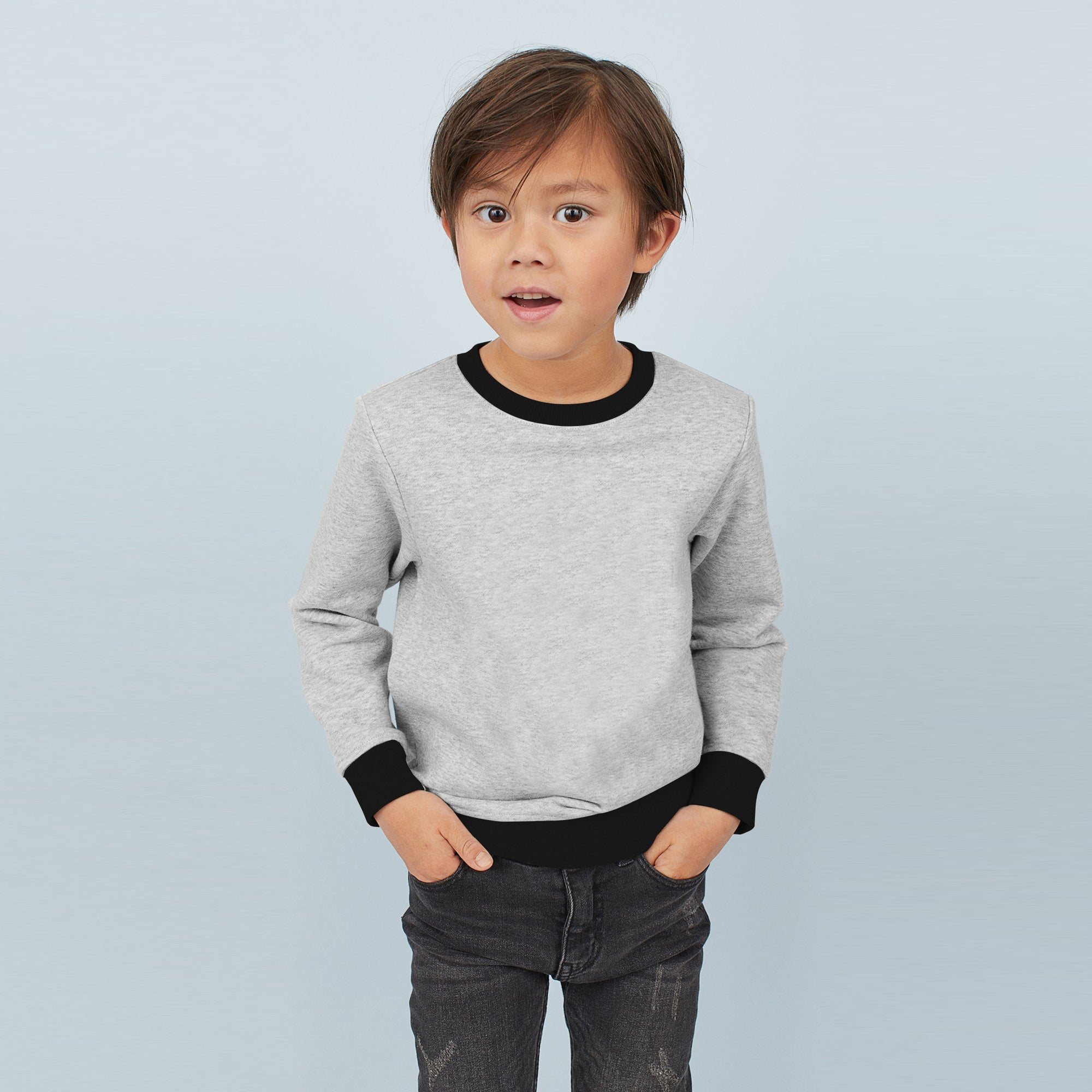 Tommy Hilfiger Crew Neck Fleece Sweatshirt For Kids-Grey Melange & Black-BE7854