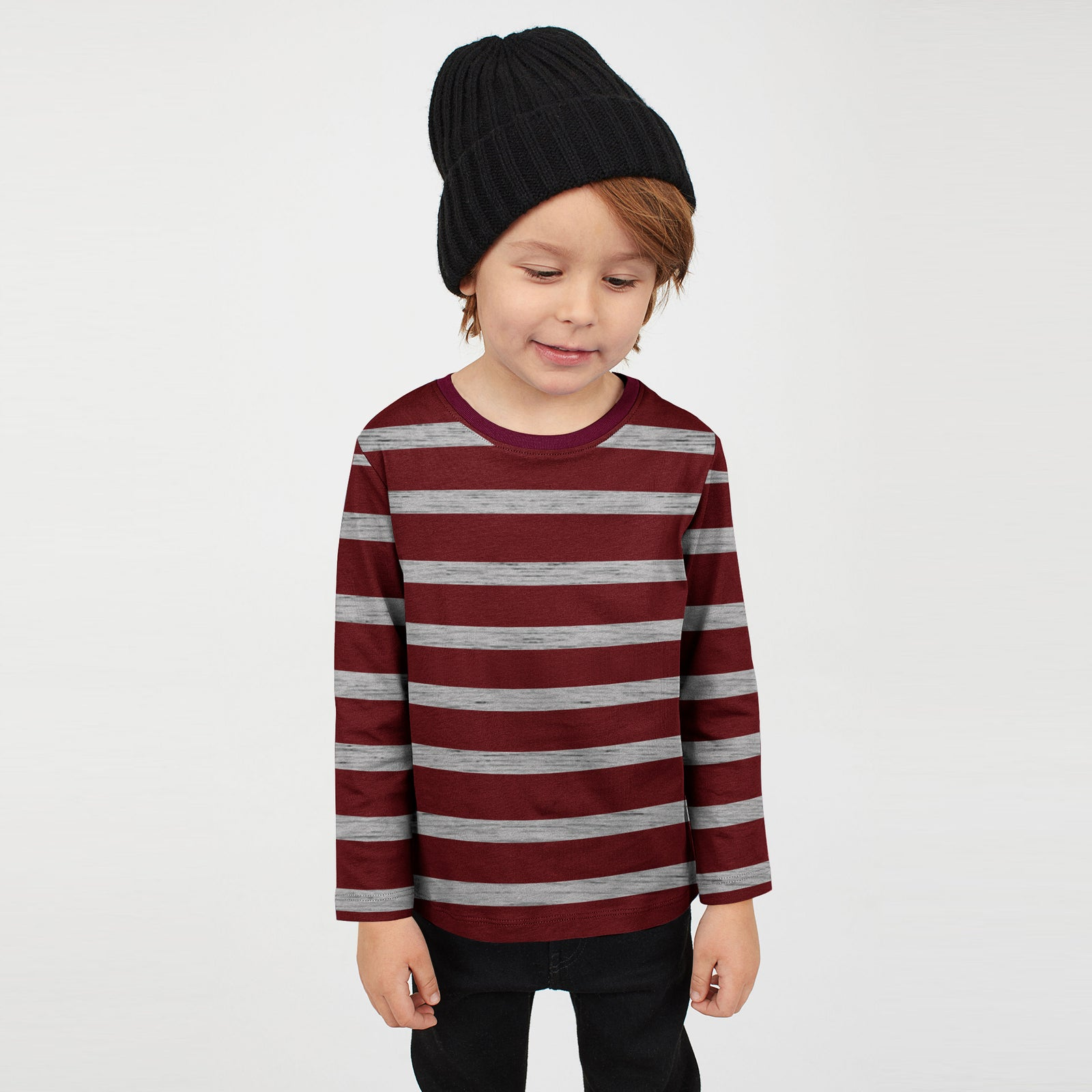 9fd185c3 Tommy Hilfiger Crew Neck Jersey Shirt For Kids-Maroon With Grey Strips-SP091