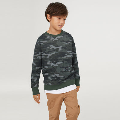 Tommy Hilfiger Crew Neck Single Jersey Sweatshirt For Kids-Camouflage with Grey-BE7223