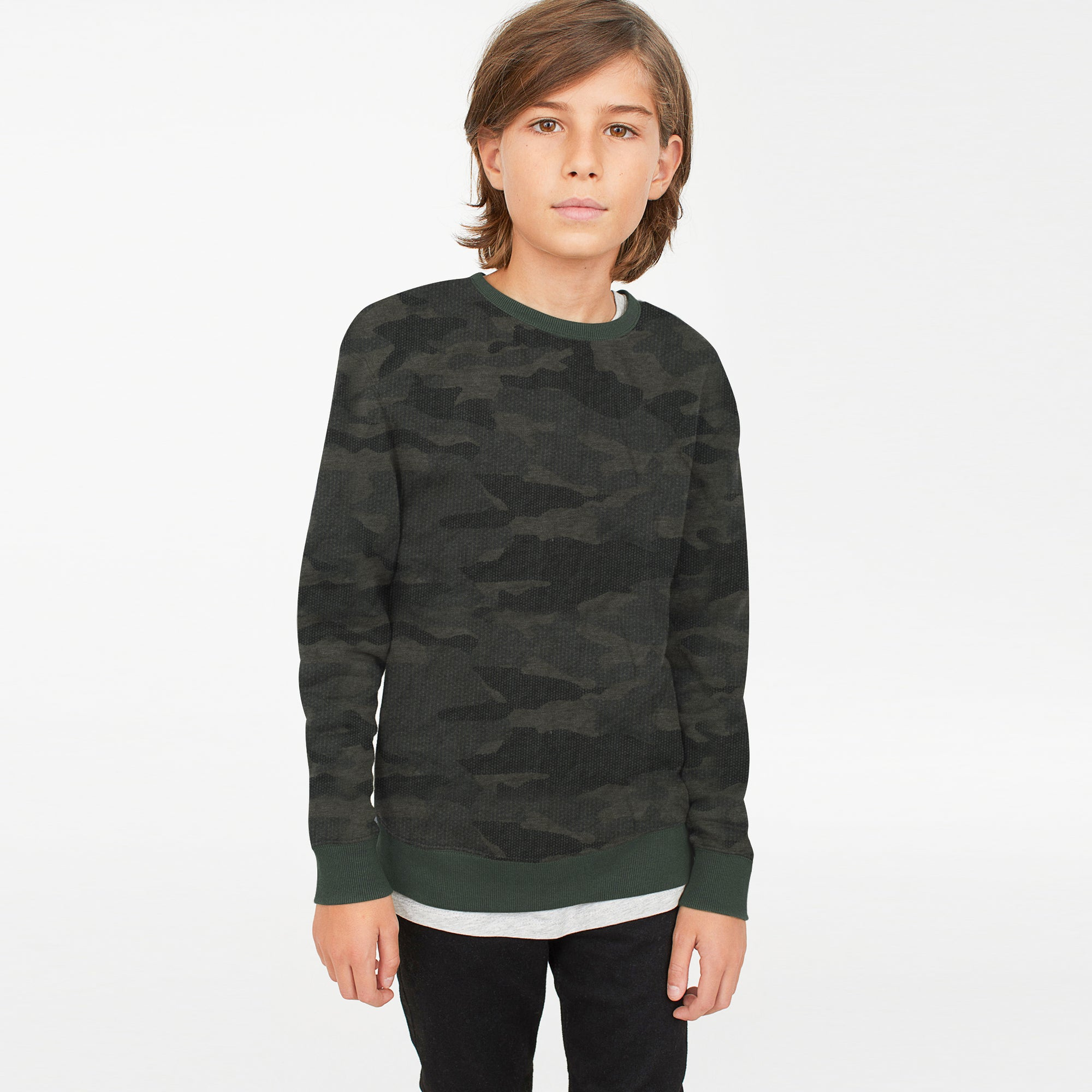 brandsego - Tommy Hilfiger Crew Neck Single Jersey Sweatshirt For Kids-Camouflage with Olive-BE7227