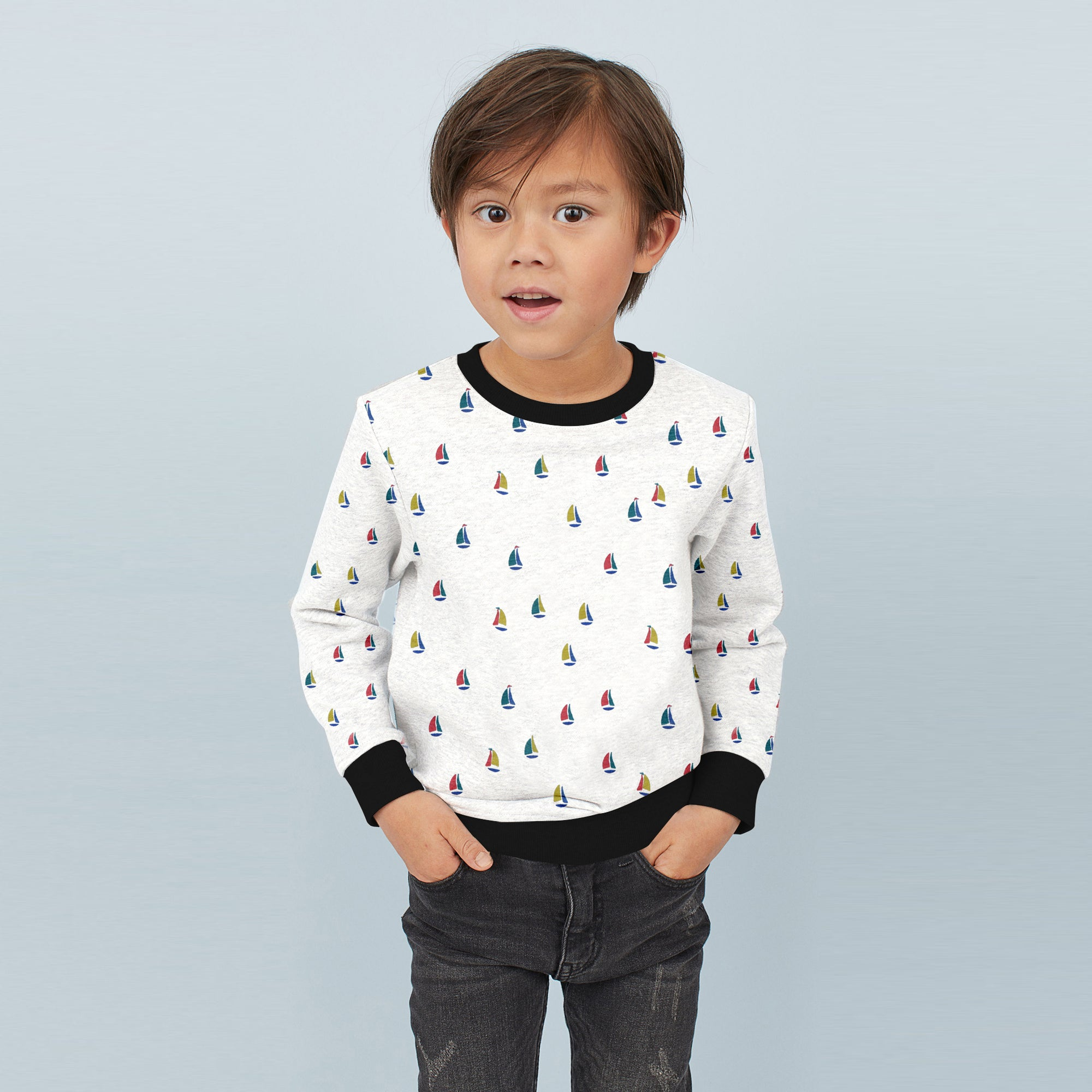 Tommy Hilfiger Crew Neck Single Jersey Sweatshirt For Kids-Off White Melange with Allover Print-BE7400