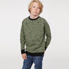 Tommy Hilfiger Crew Neck Terry Fleece Sweatshirt For Kids-Olive Green Melange with Print-BE7930