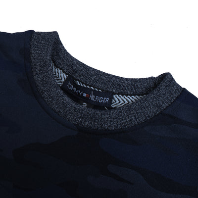 Tommy Hilfiger Fleece Crew Neck Sweatshirt For Kids-Dark Navy Camouflage-BE10711