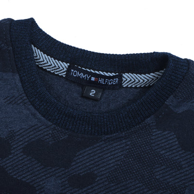 Tommy Hilfiger Fleece Crew Neck Sweatshirt For Kids-Dark Navy with Camouflage-BE10690